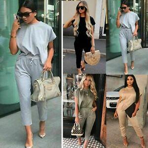 Ladies-Women-039-s-Boxy-Baggy-Top-Joggers-Lounge-wear-Tracksuit-Bottoms-Suit-Set
