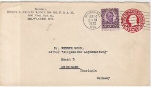 United States 1932 Milwaukee Wis. cancel Stamped envelope stamps cover ref 21718