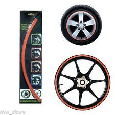 """ORANGE"" Reflective Rim Stripe Decorative sticker for Car & Bike - Self Adhesive"