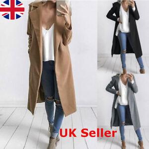 403ce1d57e8 UK STOCK Womens Winter Warm Wool Long Parka Coats Jacket Padded ...