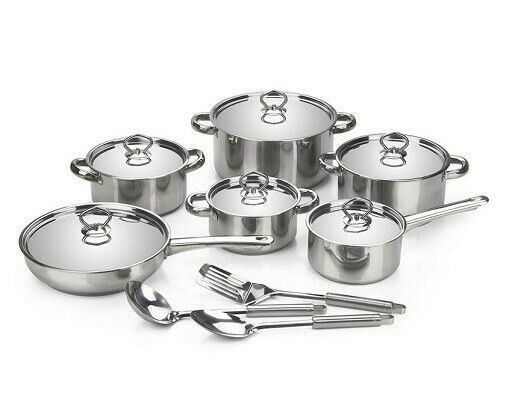 15-Piece Satin Finish Stainless Steel Induction Ready Cookware Set