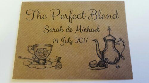Marron 10 X Personnalisé Mariage enveloppes le mélange parfait pour sachet de thé Faveurs