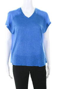 Eileen-Fisher-Petites-Womens-Sleeveless-V-Neck-Blouse-Top-Blue-Size-PS