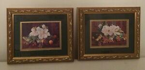 Magnolia-and-Fruit-Picture-Set-Vtg-Homco-Home-Interiors-RARE