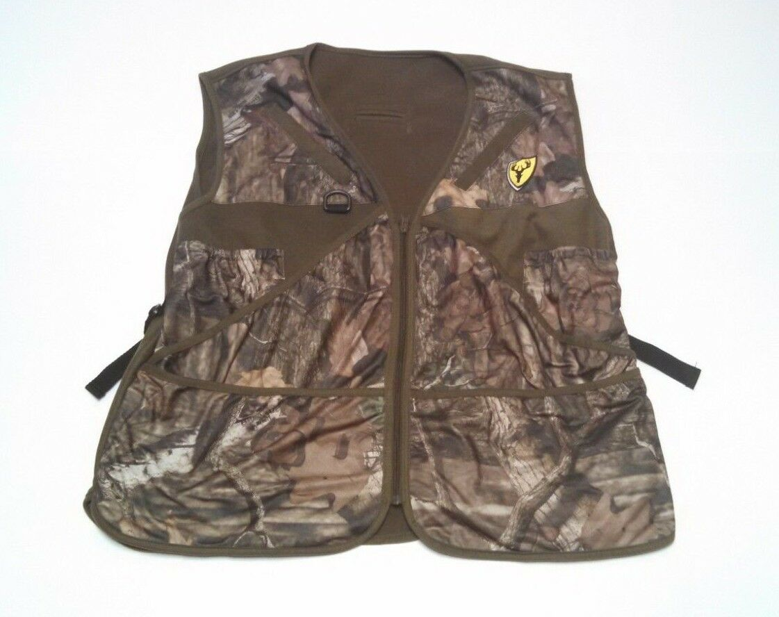 Mens Tree Spider Hunting Vest Size Large XL Camo Zip Up Fleece Lined
