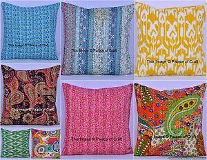 Indian-Handmade-Cotton-Kantha-Cushion-Cover-Decorative-Pillow-Case-Home-Decor
