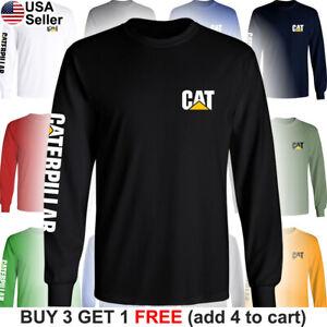 Caterpillar-Long-T-Shirt-CAT-Logo-Tractor-Equipment-Bulldozer-Construction-Chest