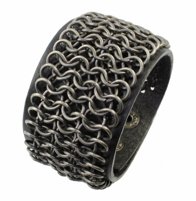 A206 Herren Leder Armband Schmuck Kettenrüstung Biker Rock Gothic Bracelet men