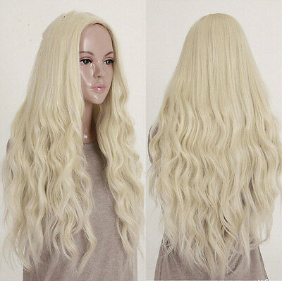Fashion Women Sexy Lady Wavy Curly Light Blonde Cosplay Party Full Long Hair Wig