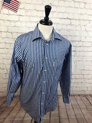 Shirts Men's Clothing Diligent Faconnable Men's Blue Stripe Cotton Dress Shirt Size 16 $98