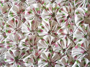 35-2-034-Pink-Floral-Chic-Yo-Yo-Quilt-Fabric-Trim-Flower-Applique-Clip-Puff-3
