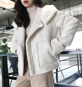 Women White Faux Fur Fleece Jacket Lapel Short Casual Wool Blend Coat Warm B409