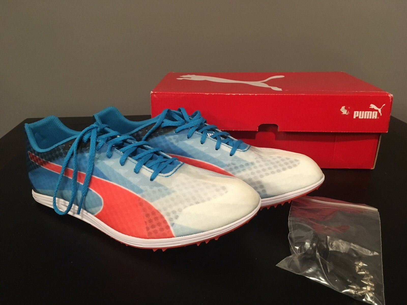 PUMA Men's Blue / Red Track & Field EvoSpeed Distance Sneakers - Comfortable Cheap women's shoes women's shoes