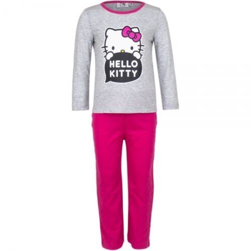 Hello Kitty Pyjama Schlafanzug in grau pink für Mädchen Größe 98  104  116  128