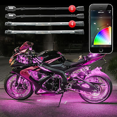 XKGLOW 8 Pod 4 Strip XKchrome Smartphone Control Motorcycle LED Accent Light Kit