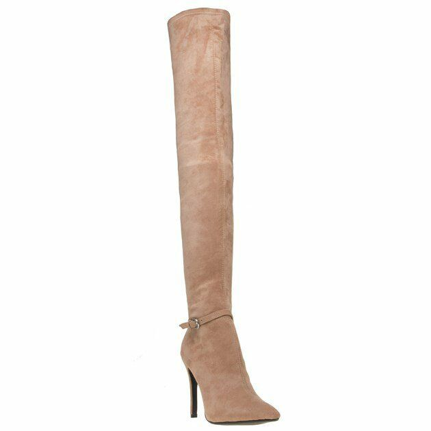 New Womens Public Desire Nude Pink West Synthetic Boots High Heels Elasticated