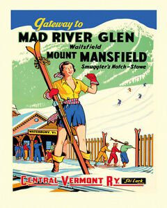 Ski Vermont Vintage Poster Reproduction of Lady Skiing Sport Winter FREE S//H