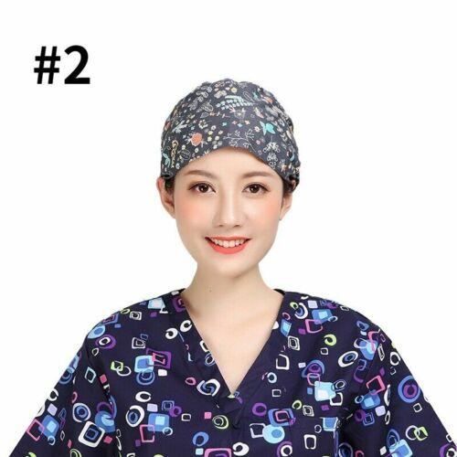 Scrub Cap Doctor Nurse Protective Surgical Hat Kitchen Dustproof Hat Print Cap