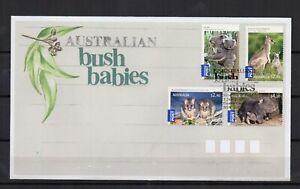 AUSTRALIE-Animaux-Bush-Babies-2009-serie-de-4-timbres-sur-1-enveloppe-FDC