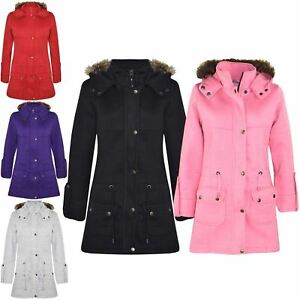939c16d75929 Kids Girls Coat Fleece Parka Jacket Long Faux Fur Hooded Winter ...