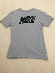 MENS-THE-NIKE-TEE-ATHLETIC-CUT-T-SHIRT-GRAY-BLACK-TRIM-SHORT-SLEEVE-SZ-LRG