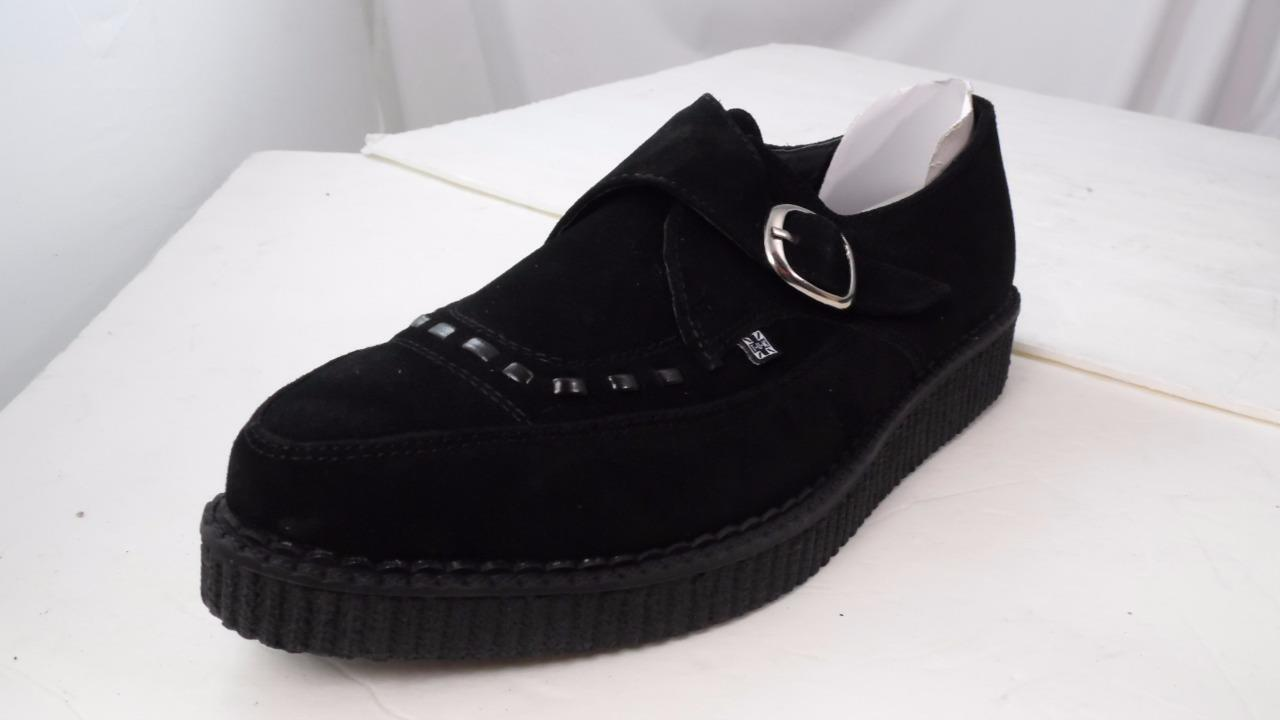 TUK BUCKLE MONK STRAP BLACK SUEDE LOW CREEPERS # A8139 UK 7 USM 8 USW 10 EUR 41