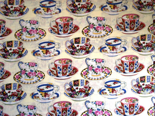 Fashion Fabrics by FQ OOP Cotton Quilt Tea Cups 1999 Hi