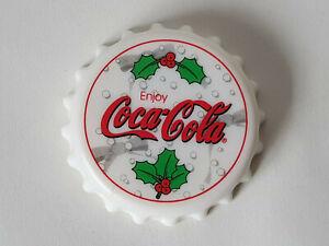 Rare-WHITE-COCA-COLA-Bottle-Cap-Shaped-Opener-amp-Twist-3-034-Fridge-Magnet-EXCELLENT