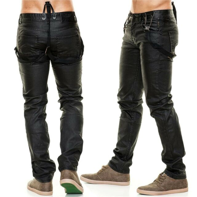 Neu Herren Jeans Hose Glanz Hosenträger Clubwear schwarz Shining Shadow DE2