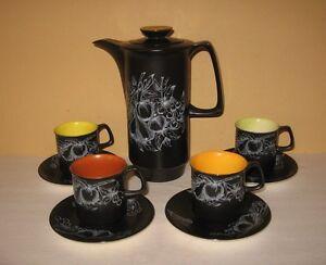 Vintage Crown Devon Fieldings Black Coffee Pot 4 Cups Set Flower