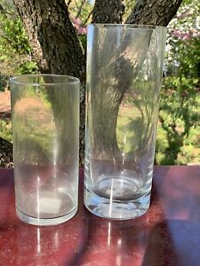 Vintage-Heavy-Lead-Glass-10-034-Small-Vase-7-034-Clear-UNIQUE-Vases-SET-of-2-m11