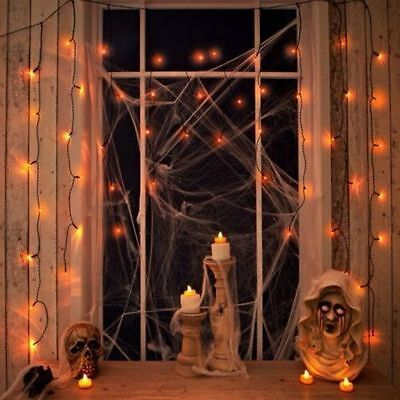 2 x 50 LED Halloween Orange Curtain String Lights Window Spooky Party Decoration