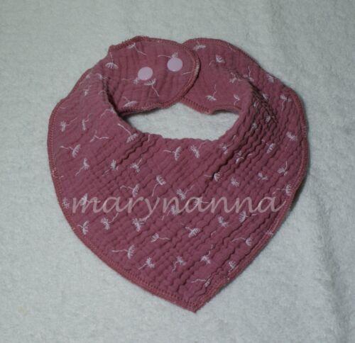Musselin Dreieckstuch Lätzchen Sabberlatz ❤️ Baby Halstuch rosa Pusteblumen