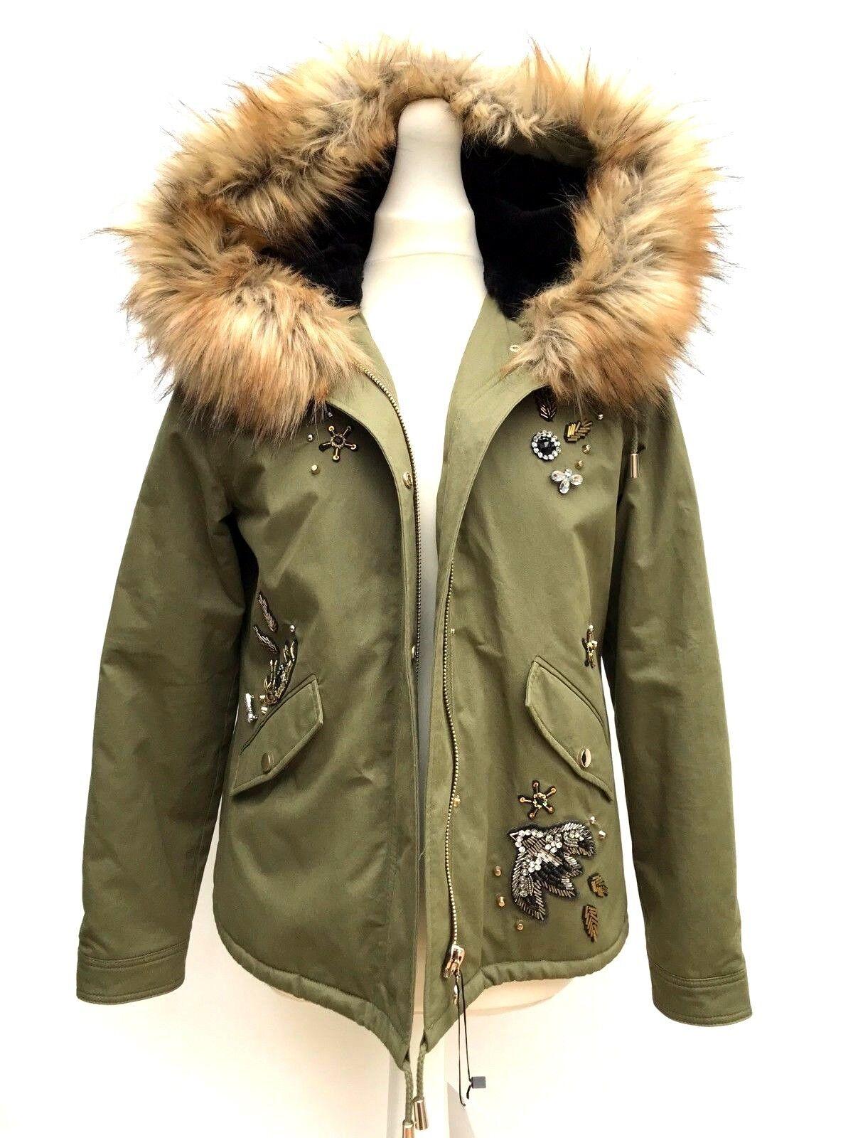 Zara Khaki Pailletten Parka Mantel mit Aufnäher Größe S Ref 7522 280     Spaß    Neuer Stil    Roman    Tadellos    Praktisch Und Wirtschaftlich