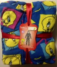 Looney Tunes Tweety Bird Hooded Non Footed Pajamas S M L or XL NWT