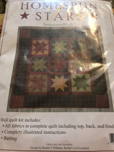 "RACHEL'S OF GREENFIELD ""HOMESPUN STARS WALL QUILT KIT"" FINISHED SIZE 22"" x 22"""