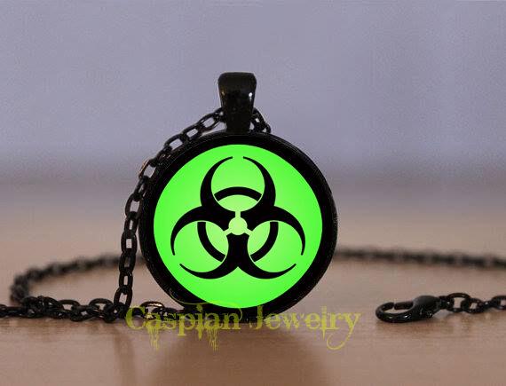 BLK Green Biohazard Fashion Black Pendant Necklace