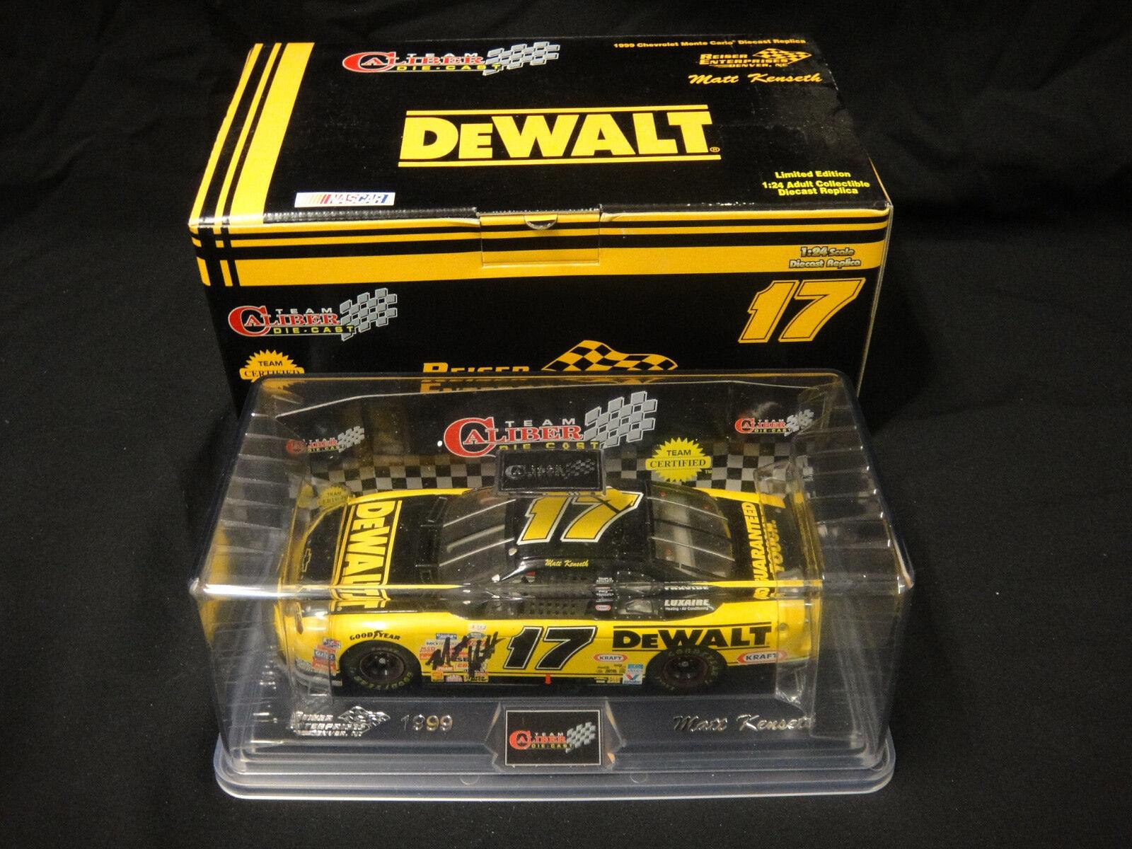 Autografiado equipo de calibre Matt Kenseth DeWalt Racing 1 24 escala Diecast 1999
