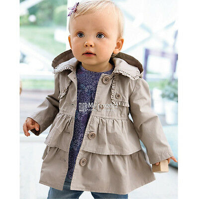Baby Girl Outerwear Jacket Windbreaker Girls Coat Kids Ruffle Hooded Coat FT175