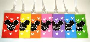 Set of 4 DISNEY Personalized MICKEY MOUSE Luggage Tag - YOUR CHOICE OF COLORS