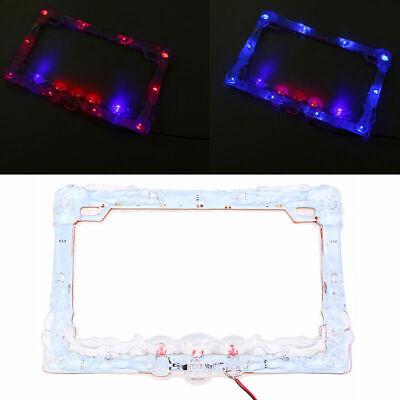 12V LED Motorcycle Colorful Lighting Plastic License Plate Cover Frame Universal