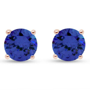 1.00Ct Round Tanzanite Solid 10K White Gold Stud Earrings