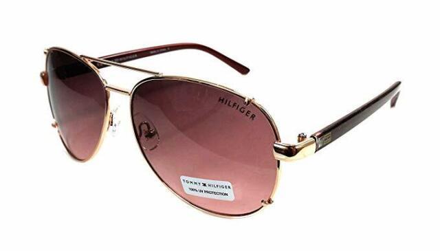 Tommy Hilfiger Bradshaw WM Ol06 Brown Lens Rose Gold Aviator Sunglasses