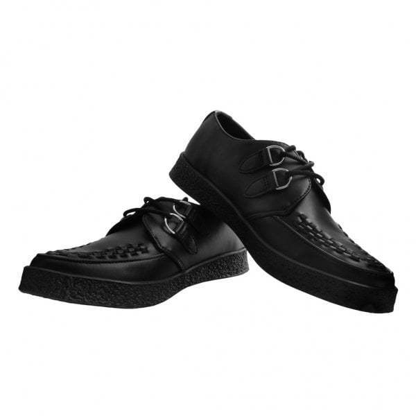 T.U.K. A9334 Pointed Lace Up PETA Approved Vegan Black Leather Creepers shoes