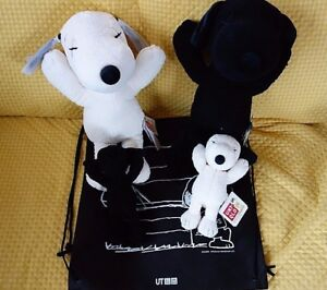 UNIQLO-KAWS-PEANUTS-Black-amp-White-SNOOPY-Plush-S-or-M-size-or-Set-of-2-SP-Set