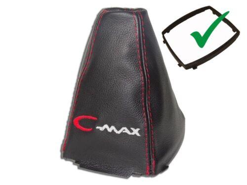 """Schaltsack Für Ford C-Max FL 07-10 Leder /""""C-MAX/"""" Rot Logo Mit Kunststoffrahmen"""