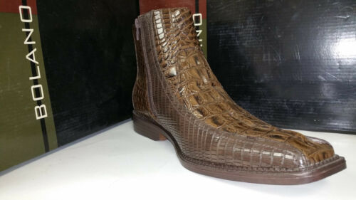 Bolano Men/'s  Brown Crocodile Print Buckled Zip Up Ankel Dress Shoes 9 /& 9.5 M