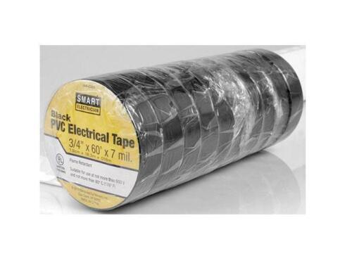 "10 pack 3//4/"" x 60/' Black PVC Pro Grade Electrical Tape 7 mil Flame Retardent"