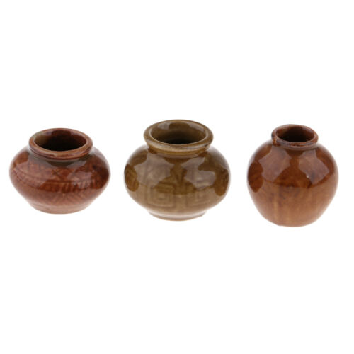 1 Set Antique Resin Ceramic Pot China Porcelain Vase 1:6 Dollhouse Miniature