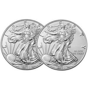 2020-1 oz American Silver Eagle Coin Brilliant Uncirculated Lot of 5